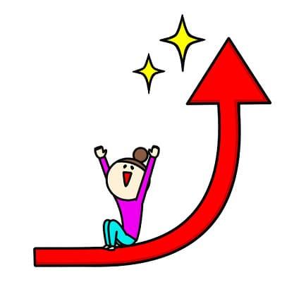 上向きの矢印の上に乗って喜んでいる女性のイラスト