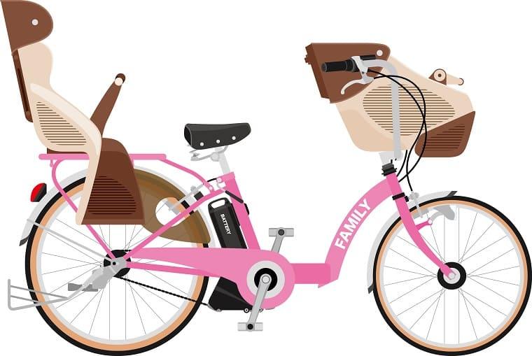 前後に子供が乗せられる3人乗り自転車のイラスト