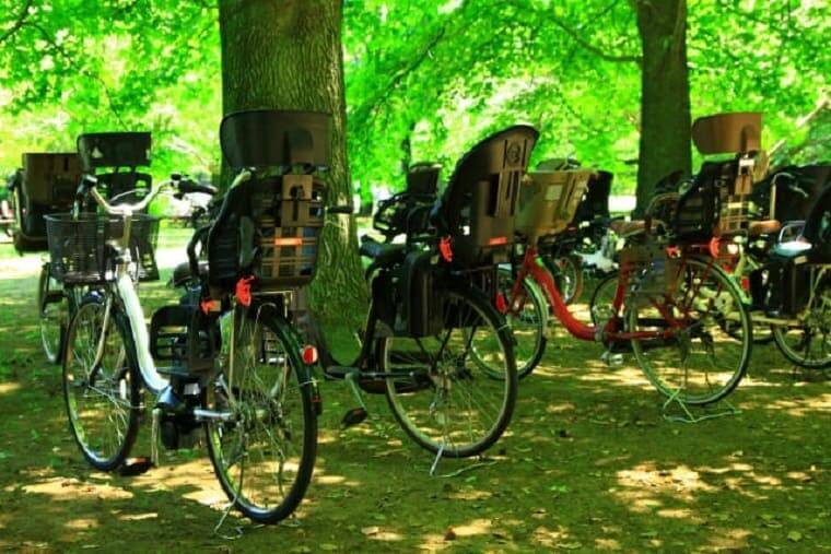 木陰に止められた多数の電動自転車