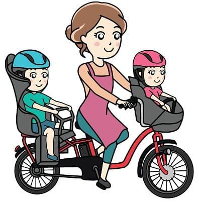 3人乗り電動自転車に乗る親子のイラスト