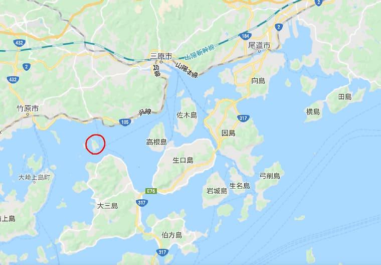 広島県大久野島の拡大地図