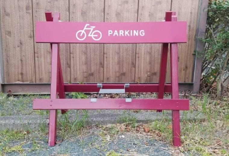木でできたオシャレな自転車駐輪スペース