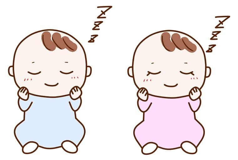 並んで眠る双子の赤ちゃんのイラスト