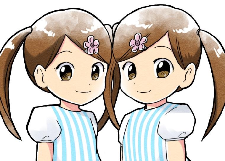 ツインテールの双子の女の子のイラスト