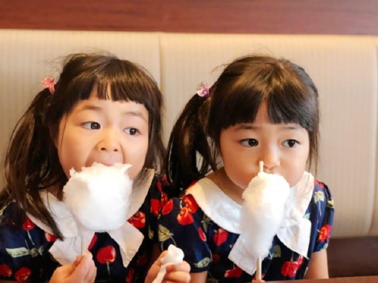 おそろいの服をきて綿菓子を食べる双子の女の子