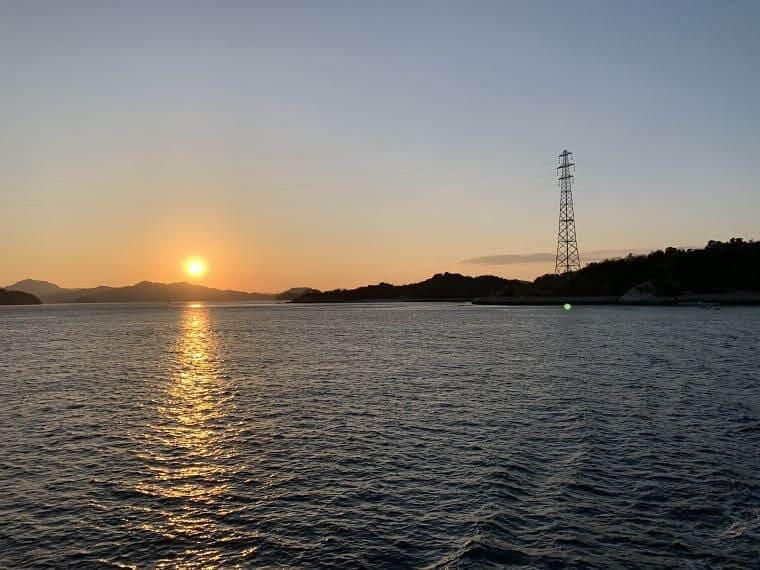 広島県大久野島の夕焼け
