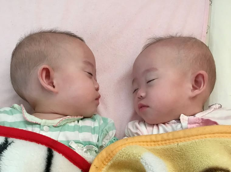 顔を向かい合わせて眠る双子の赤ちゃん