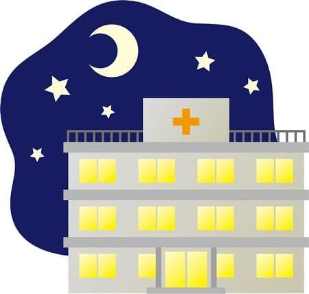 夜の病院のイラスト