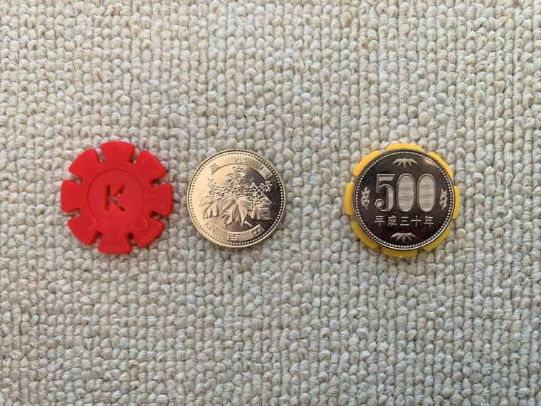 tebrconのブロックと500円玉の比較