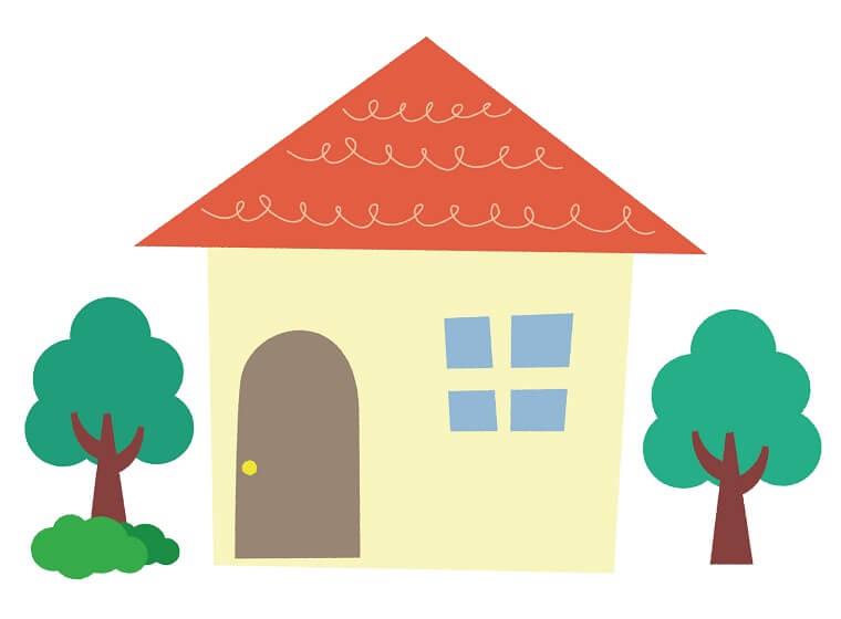 庭に木が2本生えている家のイラスト